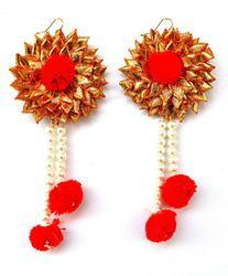 Indian Traditional Bridal Wedding Red Gota Patti Earrings