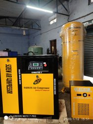 10 Hp Rotary Screw Air Compressor With 500l Vertical Receiver 60 Cfm Dryer