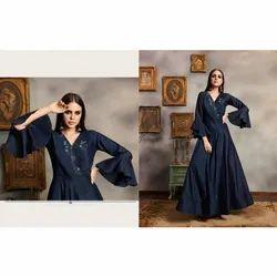 Ladies V Neck Satin Gown