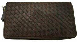 Brown Female Weaved Leather Ladies Wallet