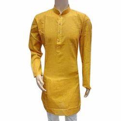 Plain Yellow Mens Khadi Kurta
