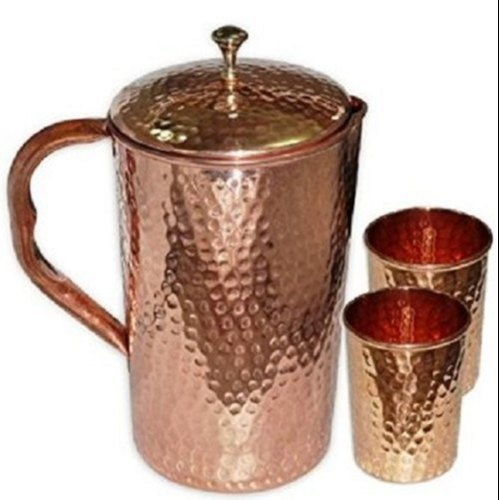 Relikart Hammered Copper Jug And Glass Set