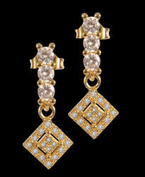 Hanging Delights Cubic Zirconia Brass Drop Earring