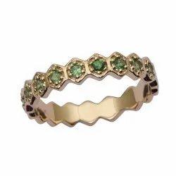 Eternity Style 9k Fine Gold Emerald Gemstone Women Engagement Ring