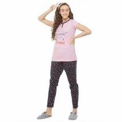 Cotton Half Sleeve Evolove Printed & Placket Ladies Night Suits(Pajama Set)
