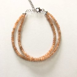 Natural Peach Moonstone Faceted Rondelle Beads Silver Bracelet