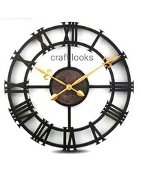 Craft Looks Black Metal Wall Clock, For Office