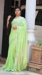 Ladies Plain Linen Sarees