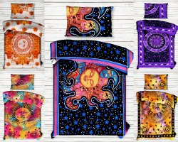 Sun Moon Printed Mandala Cotton Single Bed Sheet