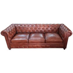 Brown Wooden Modular Three Seater Leather Sofa, 5 Inch
