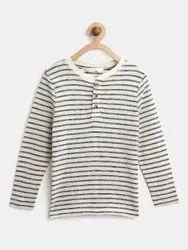 Cotton White Boys Striped T-Shirt