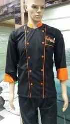 Black with Orange Color Chef Coat
