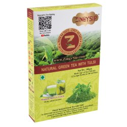 Zingysip Tulsi Green Tea Natural -100 Gm. - Prepare in 5 Seconds, Packaging Type: Packet, Pan India