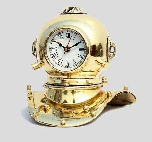 Vintage Antique Brass Divers Diving Helmet Clock Collectible Desktop Decorative