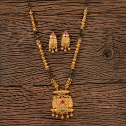 Rubygreen, Ruby Cubic Zircon Gold Plated Antique Classic Mangalsutra 202734, Size: Length = 32 Inch