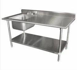 Single Stainless Steel Sink With Table, 48+24+34