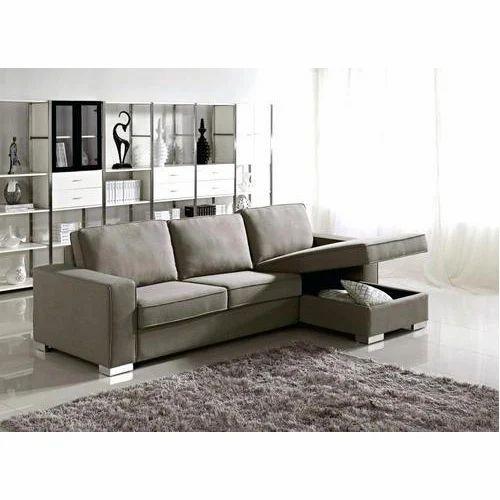 Polyester L Shape Sofa Set