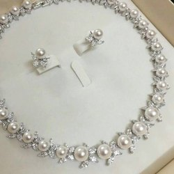 Pearl Diamond Necklace Set