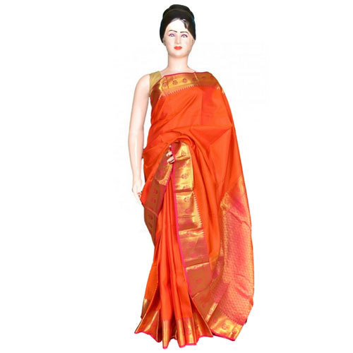 Orange Base Wedding Wear Banarasi Saree, With Blouse Piece