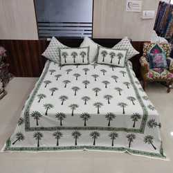 Cotton Indian Rajasthani Jaipuri Printed Design Double Bed Sheet with 2 Pillow Cover