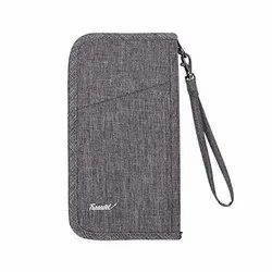 Passport Wallet Ticket and Cash Holder Document Organizer with Removable Strap, (Grey)