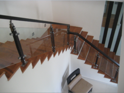 Square Wooden Baluster Glass Handrail