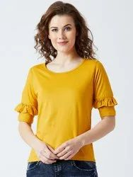 Half Sleeve Ladies Yellow T Shirt