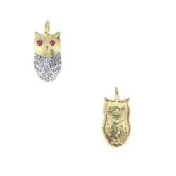 Ruby Eyes Owl Charm Pendant