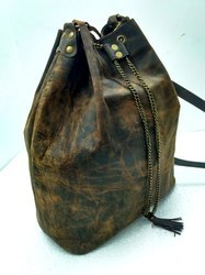 Buffalo Leather Designer Hobo Bag