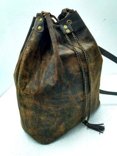 922c53f4ceed2c Vintage Brown Handicraft Villa Buffalo Leather Designer Hobo Bag, Rs ...