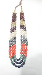 Navratnas  Navagraha Nine 9 Gems Jewelry Design Three Line String Necklace Set