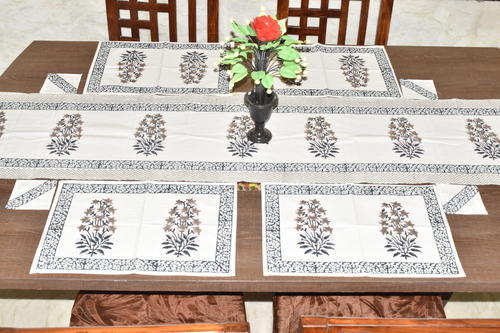 Lucky Handicraft Multicolor Hand Block Printed Cotton Table Runner Set,  Size: 40 X 180
