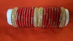 Red With Golden Plastic/ Glass, Silk Threads Red Golden Bangles
