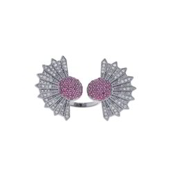 Diamond Ruby Floral Cuff Rings