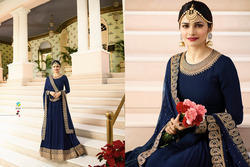 Semi-Stitched Embroidered Harvey Georgette With Squwan Work Salwar Suit, Wash Care: Dry clean