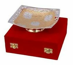 Silver & Gold Plated Brass Sqaure Shape Bowl 6