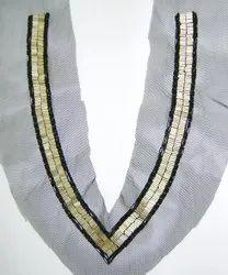 Silver Bedaded & Sequins Necklines