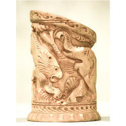 Mahesh Handicraft Brown Carved Wooden Pen Stand, For Office