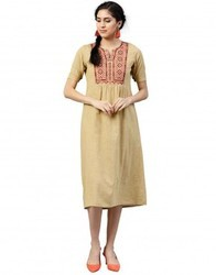 Women Beige Embroidered A-Line Cotton Slub Dress