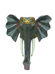 Grey-Stunning Elephant Face Wall Mount