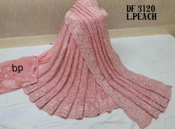 Fancy Embroidered Georgette Saree, 5.5 m (Separate Blouse Piece)