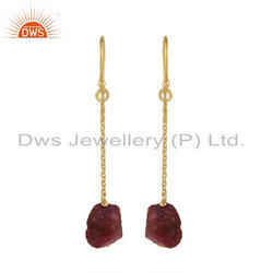 Ruby Gemstone Gold Plated Silver Dangle Chain Earrings