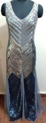Georgette Party Wear Ladies Ambre Embroided Gown