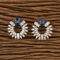 CZ Chand Earring with rose gold plating 66876