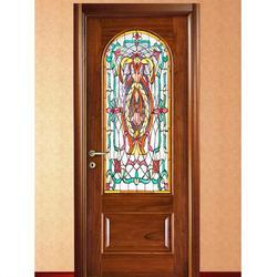 Printed Glass Wooden Door
