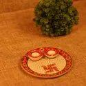 Marble Pooja Plate Thali Set (2 Diyas)