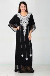 Embroidered Silk Black Kaftan Sequined Dress
