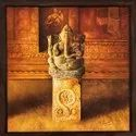 Brown Wooden Oil On Canvas Ganesha Painting, 28x38 Inch