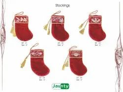 Jaunty Red Christmas Stockings Zari Embroidery Handwork, Size: 5-16 Inches