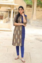 3/4th Sleeve Cotton Straight Casual Pattern Kurtis